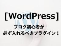 [WordPress]ブログ初心者が必ず入れるべきプラグイン!